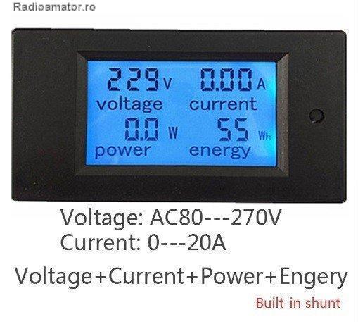 Vand #V-119676 - AC Voltmetru/Ampermetru/Energy Meter/Power Meter  - yo9ina.ro